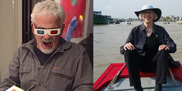 One photo of a man wearing 3D movie glasses and a phot of a woman sitting next to water.