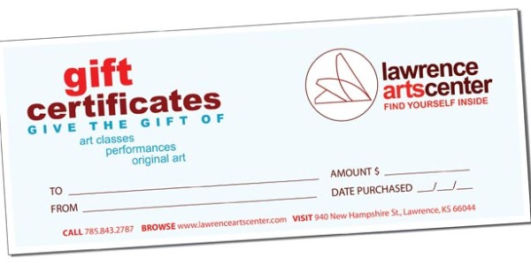 Picture of a Lawrence Arts Center gift certificate