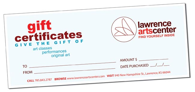 gift certificates lawrence arts center