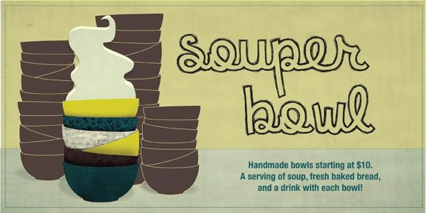 Souper Bowl print, lots of bowls stacked on each other