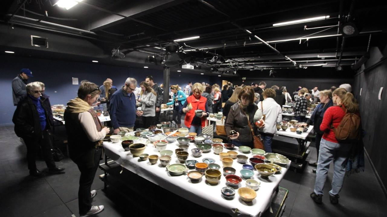 Souper Bowl Participants picking out their bowls