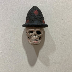 "S-43  |  Tom Bartel, ""Small Skull (Blue hat with Red Dots)"" (2018)"