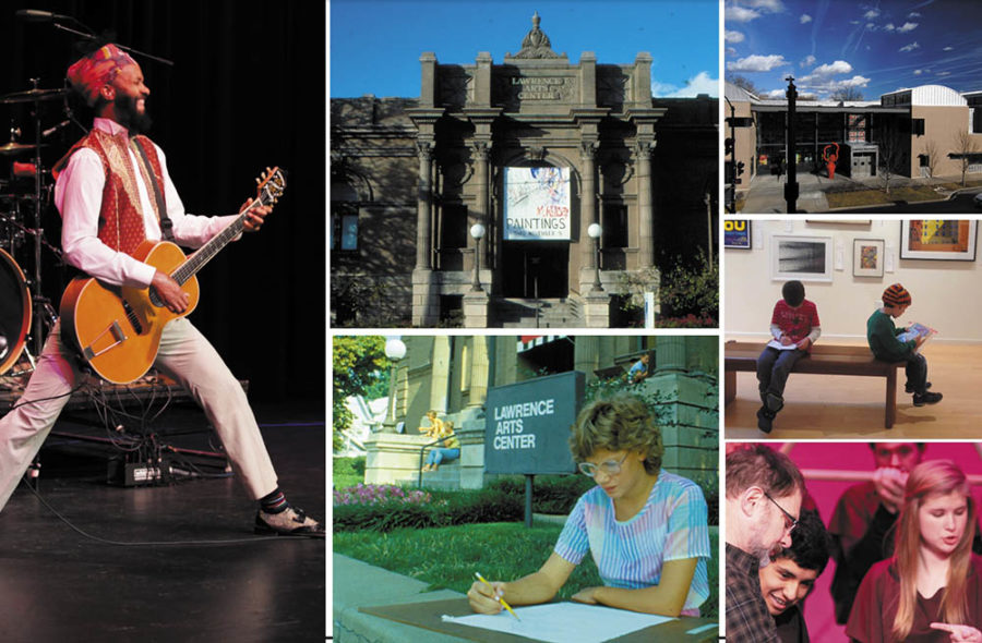 Images of what goes on at the Lawrence Arts Center, pictured Fantastic Negrito performing for the Free State Festival, the old Lawrence Arts Center Building, people spending time in our galleries and students performing