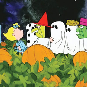 Charlie Brown And Sally Brown In A Pumpkin Patch with Ghosts