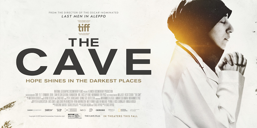 Movie poster for The Cave featuring a woman in a hijab with closed eyes and hands clasped.