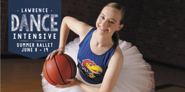 Lawrence Ballet Dancer posing with basketball in a tutu