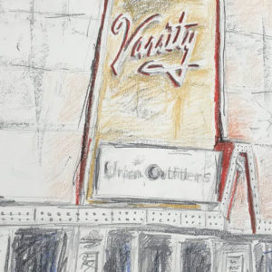 "A sketch of a building with the word ""Varsity"" on the marquee and an Urban Outfitters sign"