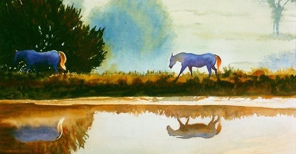 Watercolor painting of horses walking near a pond