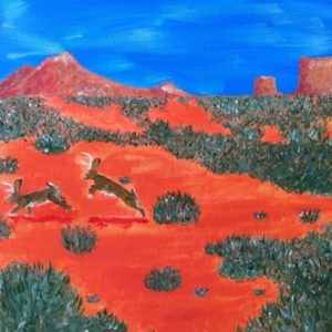 A painting featuring two jackalopes jumping across a desert.