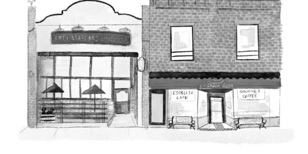 A black and white sketch of two downtown Lawrence building facades.
