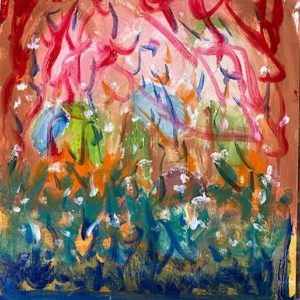 An abstract painting featuring reds, pinks, blues and greens.