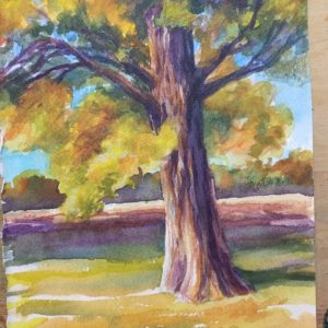 A watercolor painting of a tree.