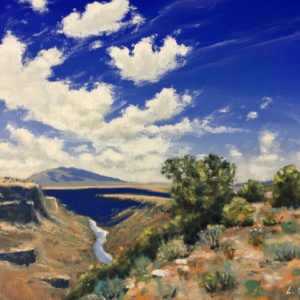A landscape painting of vast blue skies and a creek cutting through a canyon.