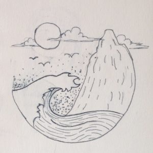 A pencil sketch of an ocean scene.