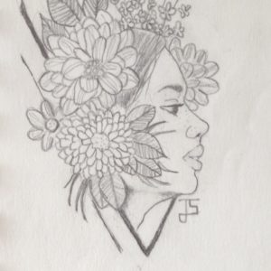 A pencil sketch of a woman with flowers in her hair.