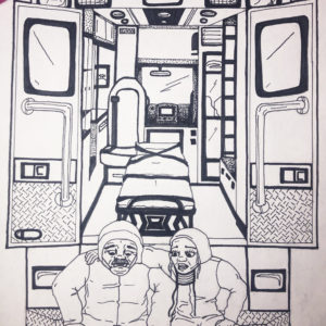An ink drawing shows two healthcare professionals sitting on the rear bumper of an ambulance.