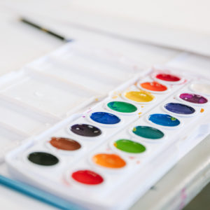 A set of watercolor paints.