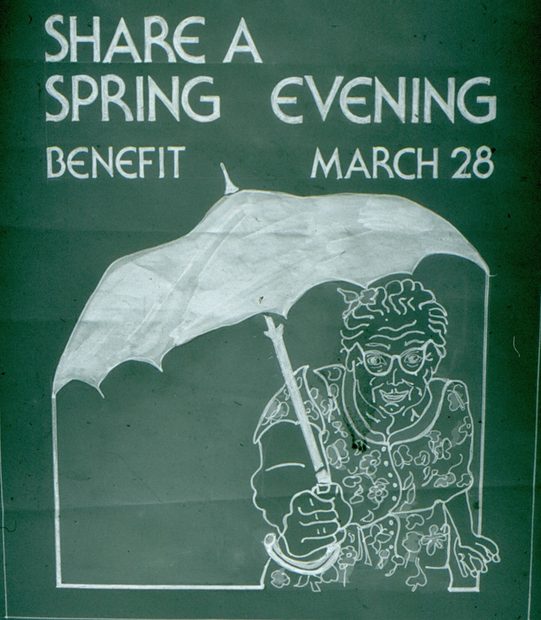 Chalkboard drawing of a woman holding umbrella advertising auction date.