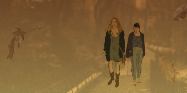 A stylized image of two women walking along a path.