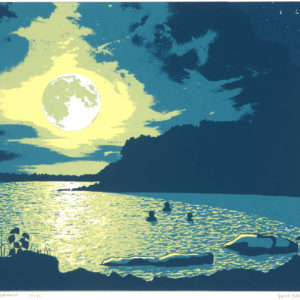 Screenprint of silhouetted swimmers in a lake at sunset.