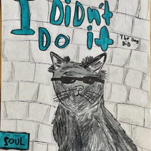 Poster featuring an ink drawing of a cat in sunglasses.
