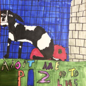 Adoption poster featuring an ink drawing of a dog in a kennel.