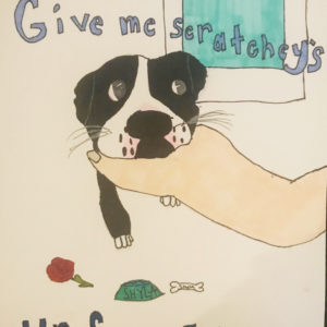 Adoption poster of a hand holding a puppy.