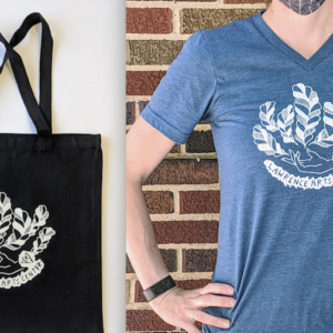 A tote bag and t-shirt feature a screen printed graphic.