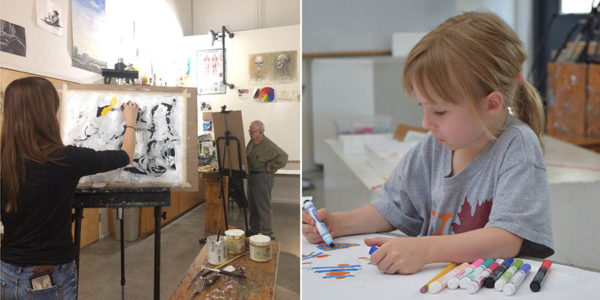 Split screen image of two adults painting and a young girl coloring with a marker.
