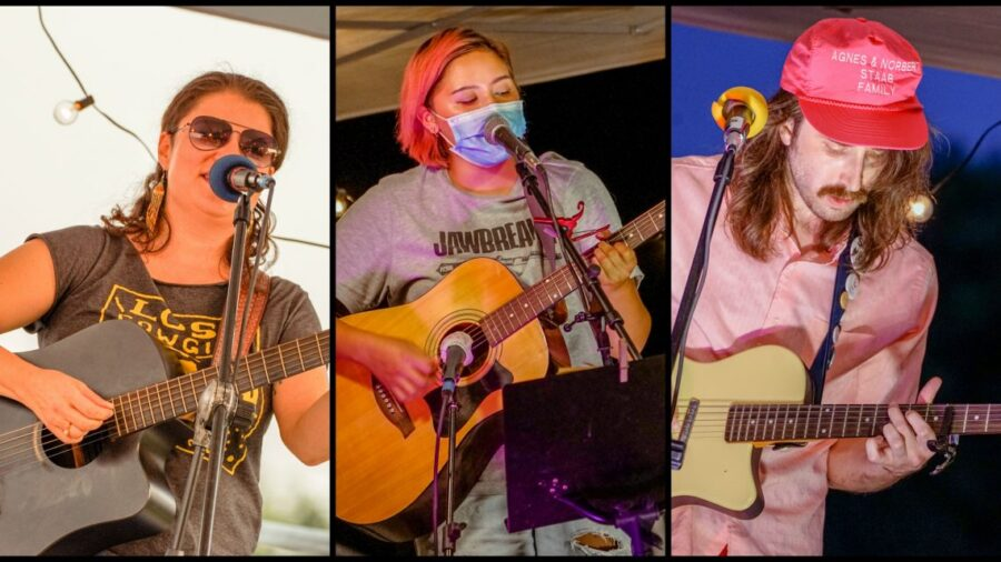 Three photos of people singing while holding guitars.