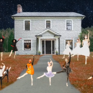 Children perform ballet in front of a house on green screen