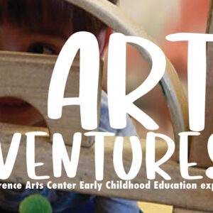 Graphic for art adventures shows young person behind a stack of blocks